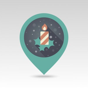 Christmas candle flat pin map icon. Map pointer. Map markers. Vector illustration EPS10