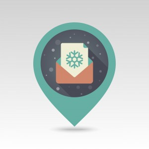 Christmas letter flat pin map icon. Map pointer. Map markers. Vector illustration EPS10