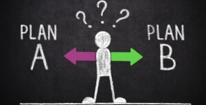 The abstract man character have to make a choice between Plan A or Plan B