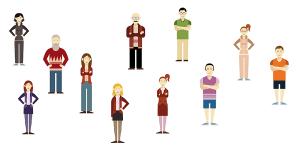 Illustration von elf Mitarbeitern
