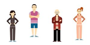 Illustration von Mitarbeitern einer Therapiepraxis