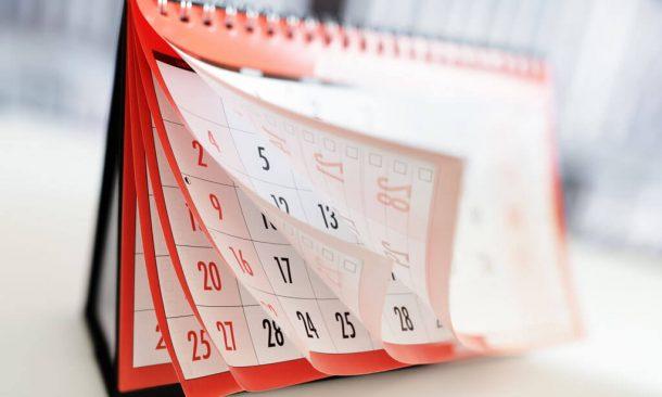 Foto von Kalender mit einzelnen Tagen