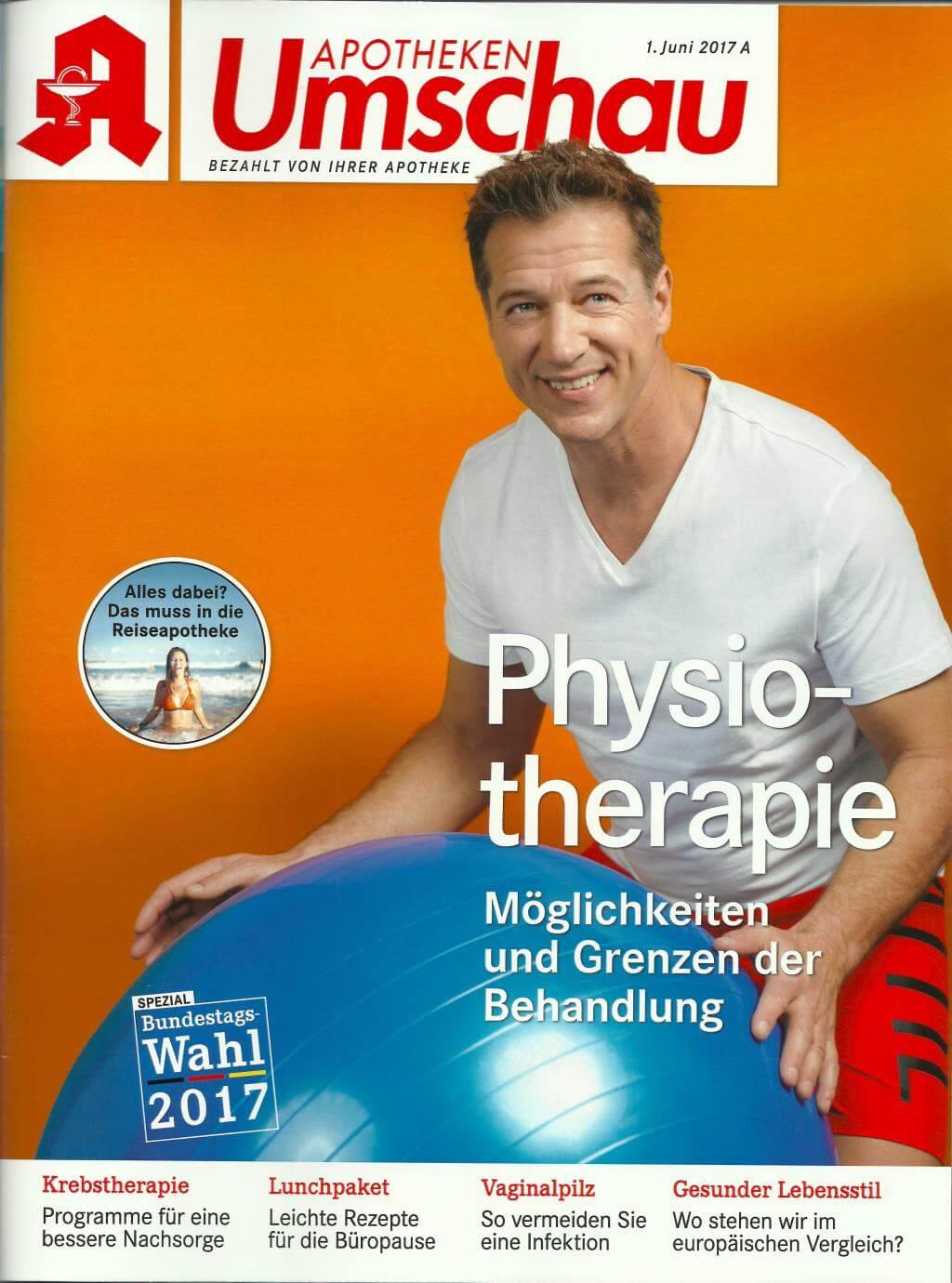 physiotherapie als titelthema in der aktuellen apotheken. Black Bedroom Furniture Sets. Home Design Ideas