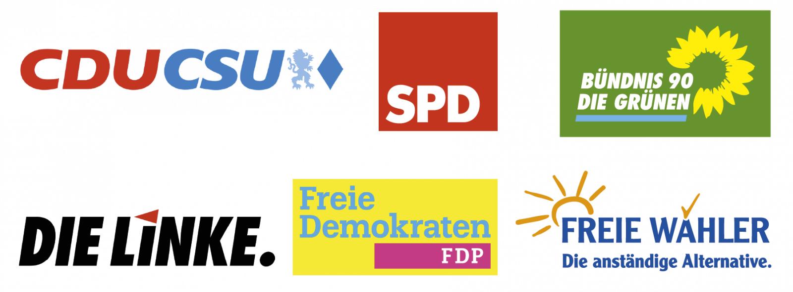 Logos sechs politischer Parteien