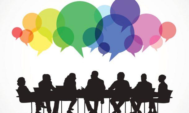 Illustration eines Meetings mit bunten Sprechblasen