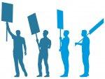 Illustration: Umrisse von Menschen mit Prostestschildern
